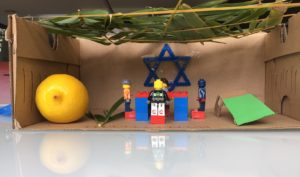 Miniature children's sukkah with lego